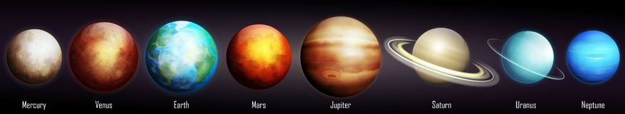 Планеты вектора солнечной системы иллюстрация вектора