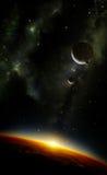 Планеты в космосе с межзвёздным облаком иллюстрация вектора