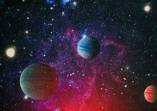 Планеты, звезды и галактики в космическом пространстве показывая красоту космического исследования Элементы поставленные NASA Стоковое Фото