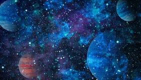Планеты, звезды и галактики в космическом пространстве показывая красоту космического исследования Элементы поставленные NASA Стоковые Фотографии RF