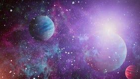Планеты, звезды и галактики в космическом пространстве показывая красоту космического исследования Элементы поставленные NASA Стоковая Фотография