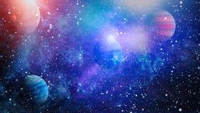 Планеты, звезды и галактики в космическом пространстве показывая красоту космического исследования Элементы поставленные NASA Стоковое Изображение