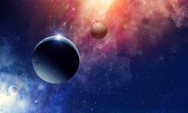 Планеты и межзвёздное облако космоса стоковое изображение
