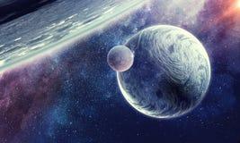 Планеты и межзвёздное облако космоса стоковые фото