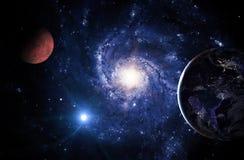 Планеты солнечной системы на фоне спиральной галактики в космосе стоковая фотография