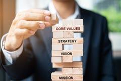 Рука бизнесмена устанавливая или вытягивая деревянный блок на башне Планирование бизнеса, управление при допущениеи риска, решени стоковое фото rf