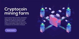 Планировка фермы минирования Cryptocoin Cryptocurrency и сеть blockchain иллюстрация штока