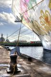 Планка шатии в небе на туристическом судне стоковое фото rf