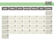 Плановик 2019 календаря Ежемесячный плановик июнь бесплатная иллюстрация