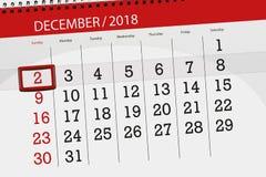 Плановик календаря на месяц декабрь 2018, день крайнего срока, 2, воскресенье иллюстрация вектора