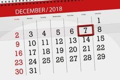 Плановик календаря на месяц декабрь 2018, день крайнего срока, friday, 7 иллюстрация штока