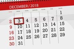 Плановик календаря на месяц декабрь 2018, день крайнего срока, monday, 3 бесплатная иллюстрация