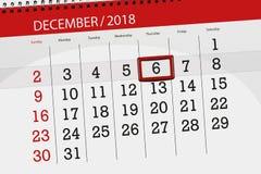 Плановик календаря на месяц декабрь 2018, день крайнего срока, thursday, 6 иллюстрация вектора