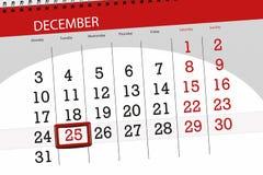 Плановик календаря на месяц декабрь 2018, день крайнего срока, tuesday, 25, рождество иллюстрация штока