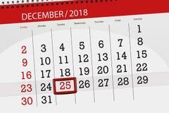 Плановик календаря на месяц декабрь 2018, день крайнего срока, tuesday, 25, рождество бесплатная иллюстрация