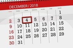 Плановик календаря на месяц декабрь 2018, день крайнего срока, tuesday, 4 иллюстрация штока