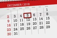 Плановик календаря на месяц декабрь 2018, день крайнего срока, wednesday, 5 бесплатная иллюстрация