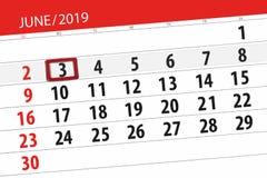 Плановик календаря на месяц июнь 2019, день крайнего срока, 3, понедельник иллюстрация вектора