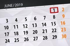 Плановик календаря на месяц июнь 2019, день крайнего срока, 1, суббота иллюстрация вектора