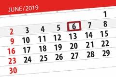 Плановик календаря на месяц июнь 2019, день крайнего срока, 6, четверг иллюстрация штока