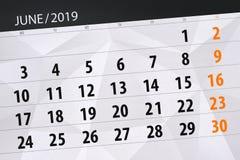 Плановик календаря на месяц июнь 2019, день крайнего срока иллюстрация штока