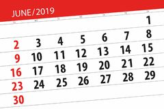 Плановик календаря на месяц июнь 2019, день крайнего срока бесплатная иллюстрация