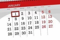 Плановик календаря на месяц январь 2019, день крайнего срока, 1, вторник иллюстрация вектора
