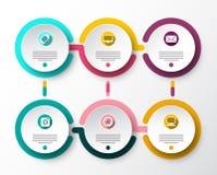 6 планов Infographic бумаги вектора шагов Дизайн потока информации Infographics иллюстрация штока