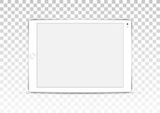 Планшет вектора белый изолированный на прозрачной предпосылке стоковое изображение rf