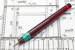 Планы архитектора стоковое изображение rf