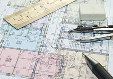 планы дома светокопии Стоковое Изображение RF