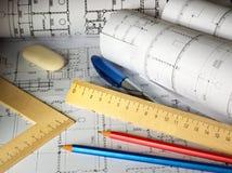 планы карандашей Стоковая Фотография RF