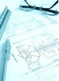 план гостиницы здания архитектора Стоковое фото RF