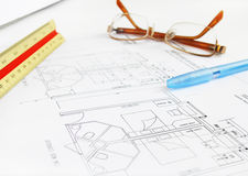 план гостиницы здания архитектора Стоковые Изображения