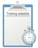План-график тренировки и секундомер Стоковые Фото