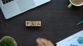 План a, дама делая слово из кубов, успешное изучение конъюнктуры рынка стратегии бизнеса видеоматериал