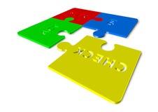 План делает поступок проверки - 3d представляют иллюстрацию головоломок Стоковая Фотография