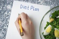 План диеты надписи на желтом листе и женской руке над взглядом стоковое фото