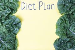 План диеты надписи на желтом листе и зеленых частях над взглядом стоковые фотографии rf