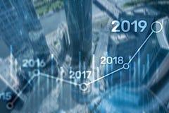 План 2019 для финансового роста Принципиальная схема дела и вклада стоковая фотография rf