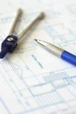 план дома конструкции светокопии архитектора Стоковое фото RF