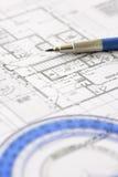 план дома конструкции светокопии архитектора Стоковые Изображения