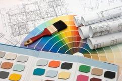 план дома цвета пробует выбор Стоковая Фотография RF