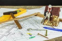 План здания конструировал здание на чертеже Проектировать и технический чертеж, часть архитектурноакустического проекта Конструкц Стоковая Фотография