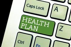 План здоровья сочинительства текста почерка Концепция знача любую стратегию которая предлагает медицинские обслуживания к своим ч стоковое изображение
