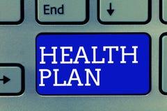 План здоровья текста почерка Концепция знача любую стратегию которая предлагает медицинские обслуживания к своим членам стоковое фото