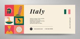 План знамени перемещения Италии иллюстрация вектора