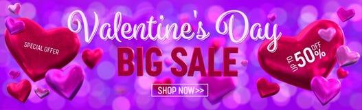 План знамени продажи дня Valentine's большой Знамя, обои, приглашение Стоковое Изображение
