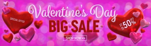 План знамени продажи дня Valentine's большой Знамя, обои, inv Стоковая Фотография