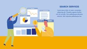 План знамени сети поисковых служб с космосом текста иллюстрация штока
